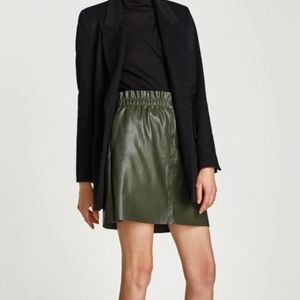 Zara Knit Faux Leather Button Front Green Skirt